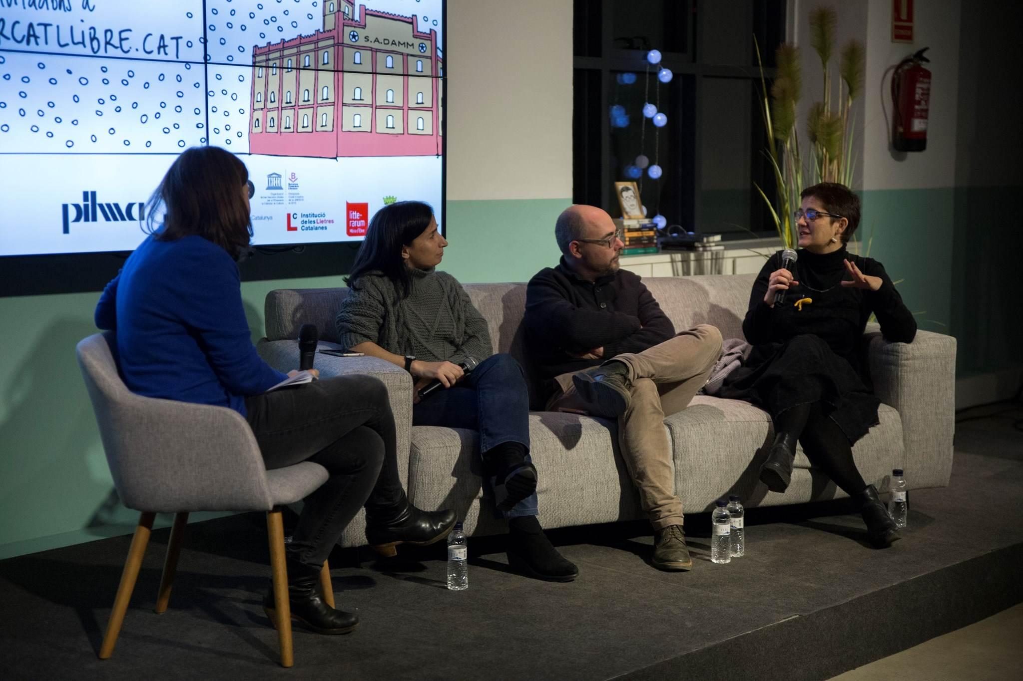 Carme Fenoll, Miquel Adam i Fe Fernández, amb Anna Guitart
