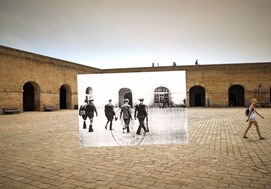 <p><em>Parade ground at the Castle of Montju&iuml;c.</em> Barcelona, Ricard Mart&iacute;nez, 2011.<br /> On 14 October 1940, Llu&iacute;s Companys, president of the Generalitat de Catalunya (Government of Catalonia) is led before a military tribunal. He was executed some hours later.&nbsp;<br /> (Source: unidentified photographer, 1940 / Varela Archive, Cadiz).</p>  <p>&nbsp;</p>