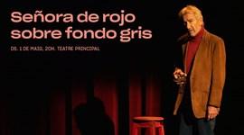 SEÑORA DE ROJO SOBRE FONDO GRIS